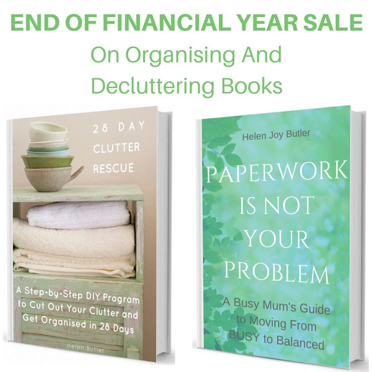 Get both of my books in this End of Financial Year Sale! For the sale price of $40 + postage you can get the '28 Day Clutter Rescue' ebook and 'Paperwork Is Not Your Problem' paperback. That's a saving of $36.95! Don't miss out - sale ends 21 June. #helenjoybutler #clutterrescue #organising #decluttering #eofy #endoffinancialyear #sale