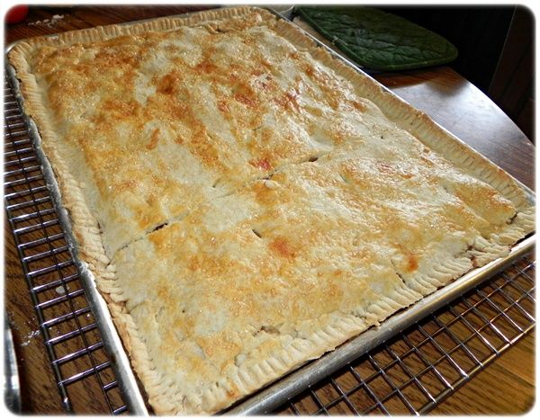 Apple Pie in a sheet pan.   My mother used to make something like this, and we would cut squares and put it in a bowl and cover with milk.  mmm