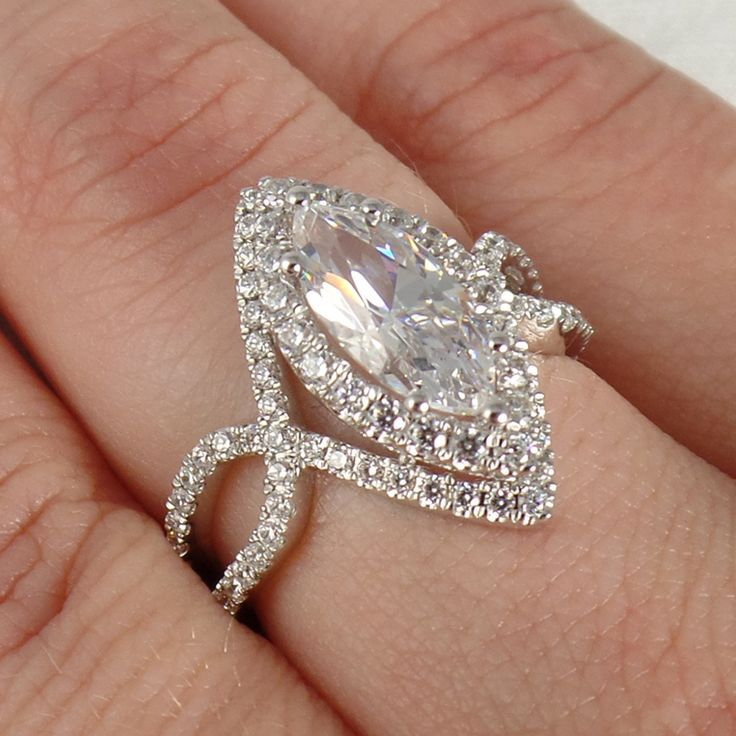 Split shank, double halo, one serious marquise rock #SY304 #sylviecollection
