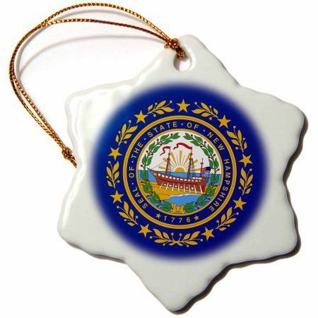 3dRose US State flags - Flag and seal of New Hampshire - frigate ship USS Raleigh dark navy blue and gold, Snowflake Ornament, Porcelain, 3-inch