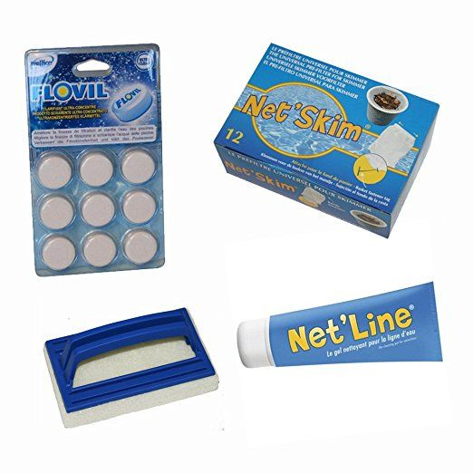 lots entretien nettoyage piscine 4 produits - floculant -prefiltre skimmer - brosse - produit nettoyant ligne d'eau piscine - jardiboutique