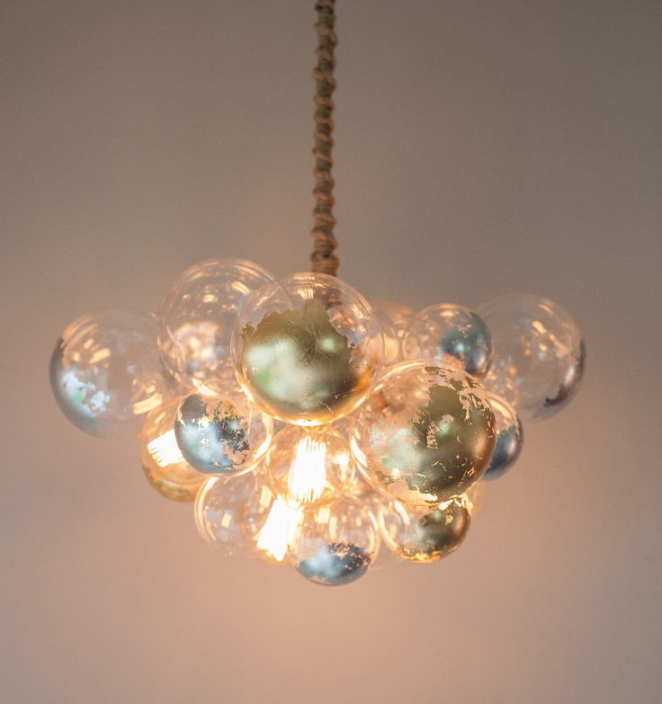 i love my glass bubble chandelier with 4 edison bulbs silver and gold leafing - Bubble Chandelier