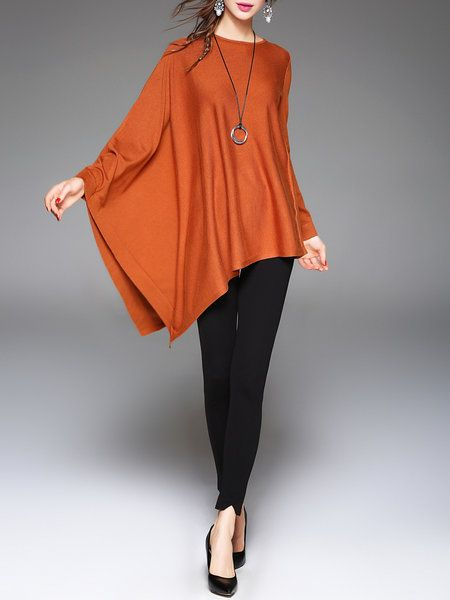 Shop Long Sleeved Tops - Black Cashmere Asymmetrical Batwing Plain Long Sleeved Top online. Discover unique designers fashion at StyleWe.com.
