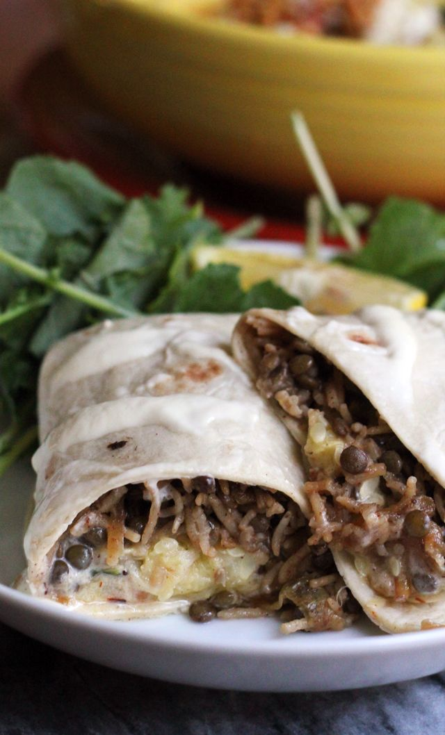Mujaddara is a richly spiced Middle Eastern comfort food filled with rice, lentils, and caramelized fried onions. It is the perfect filling in these Middle Eastern mujaddara burritos, along with zucchini baba ghanoush!