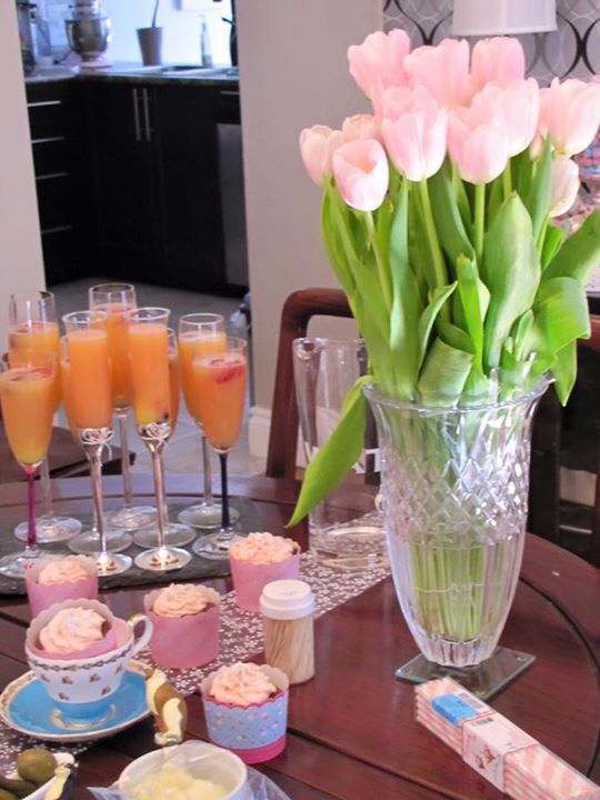 Lunch mimosa with pink champagne
