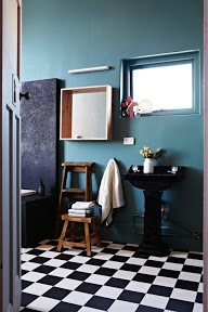 Bathroom: petrol (walls) - wood (furniture and doors) - white (wall tiles, porcelain) - black or dark grey (checkered tiles for the floor).