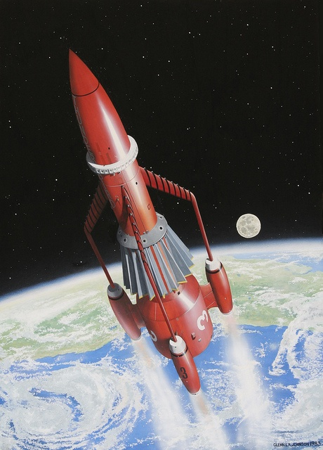 Thunderbirds are Go! Thunderbird 3 races into space from its launch pad on Tracy Island in the South Pacific. Watercolour on card
