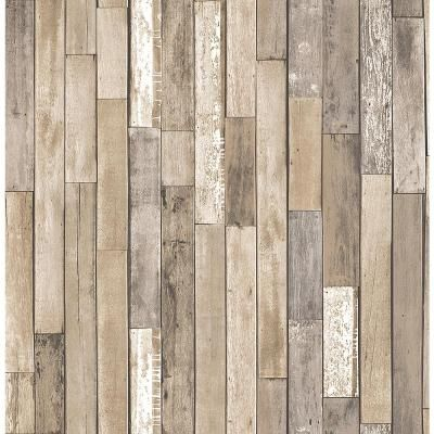 Brewster 56.4 sq. ft. Barn Board Brown Thin Plank Wallpaper-FD23274 - The Home Depot