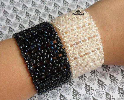"""Плетеные браслеты из супердуо """"День"""" и """"Ночь"""" - чёрно-белый,черный,белый"""
