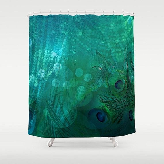 Peacock Shower Curtain Teal Shower Curtain by FolkandFunky on Etsy