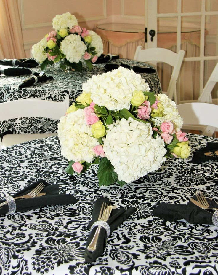 White hydrangea wedding centerpiece with accents of yellow