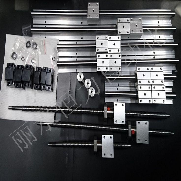 6 set linear guideway Rail SBR16-300/700/1100mm + 3 ballscrews bola sekrup 1605-350/750/1150mm + BK12 BF12 + 3 kopling