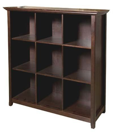 Simpli Home AXCB222 Acadian Collection 9 Cube Storage Bookcase, Rich Tobacco Brown, 1-Pack Solid wood construction. Dark tobacco brown stain finish with protective nc lacquer finish. Nine cube storage cubbies for books, photos or nicknacks. versatile and multi-functional. Elegantly tapered legs, grooved sides and moulded crown edged table top.  #Simpli_Home #Home
