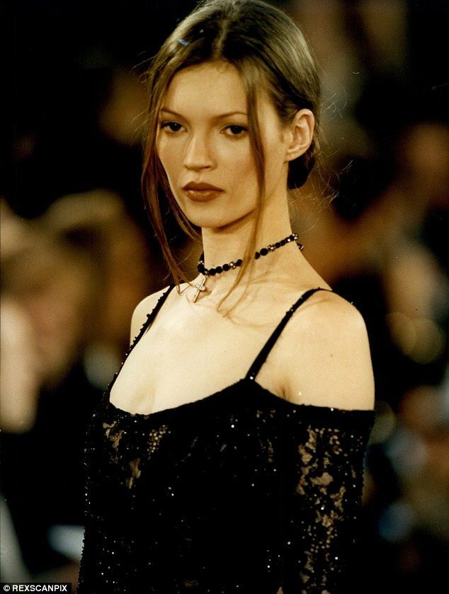 Fresh-faced: Kate Moss pictured at New York fashion week back in the 1990s