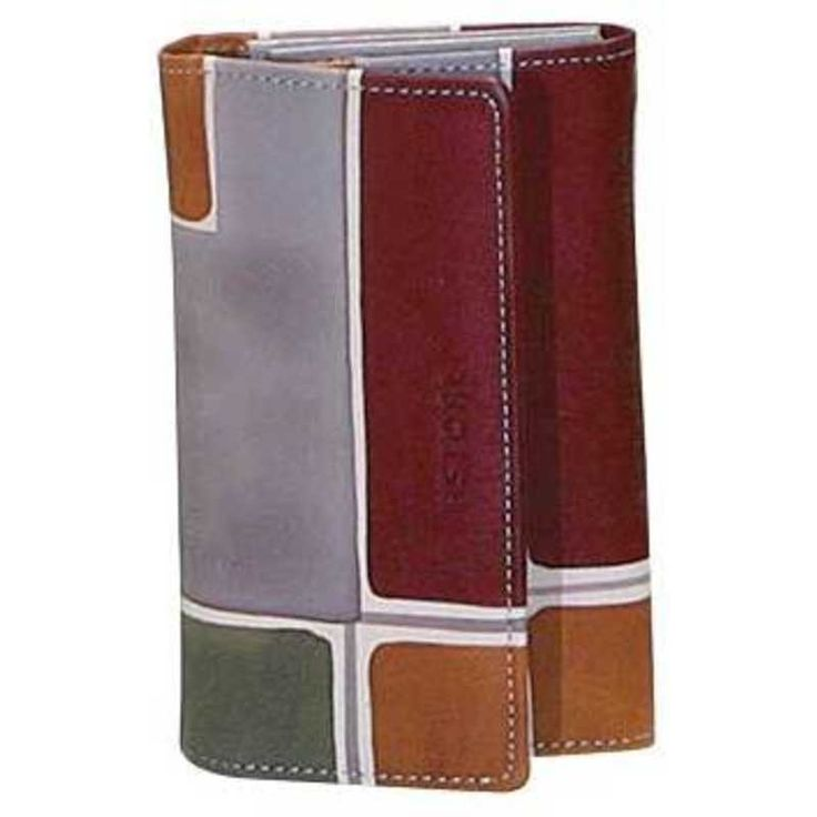Natural leather wallet, handpainted. Perfect idea for a present or simply match it to your Acquerello handbag. Colors grey violet ocra and green and geometrical pattern.