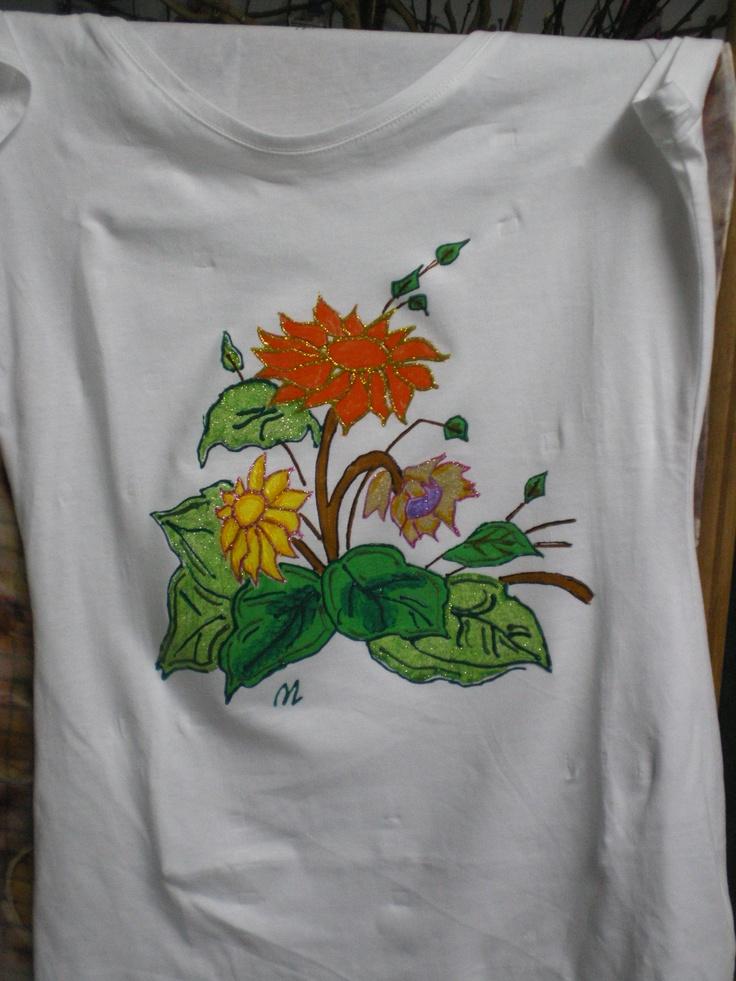 Handmade tshirt acrylic drawings