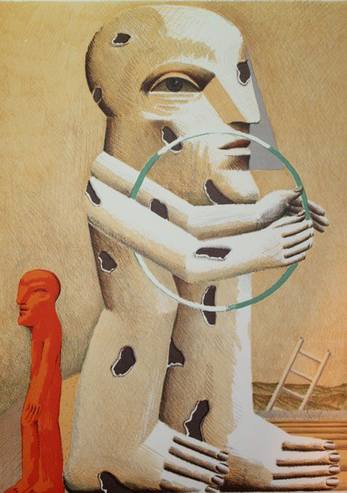 Horst Antes geboren 1936 in Heppenheim. Seit 1990 lebt und arbeitet Antes in Karlsruhe, Florenz und Berlin. Neben Gemälden und Druckgrafiken umfasst sein Werk auch Skulpturen im öffentlichen Raum. Seine Arbeiten werden weltweit ausgestellt und sind in den größten Sammlungen Deutschlands vertreten. Titel: Kopffüßler Technik: Farblihographie, 1982 Größe: 42 x 30 cm Motiv: 41 x 29 cm  nummeriert und handsigniert.  Gesamtauflage 10000