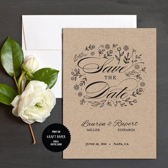 Rustic Save the Date Template Instant Download by TheprintableCo