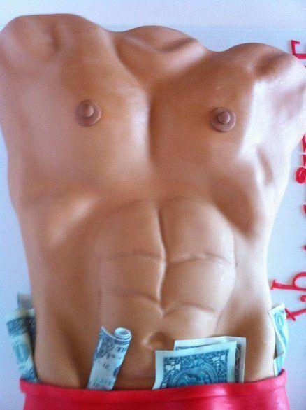 """Magic Mike"" inspired Dirty 30 cake featuring edible dollar bills."