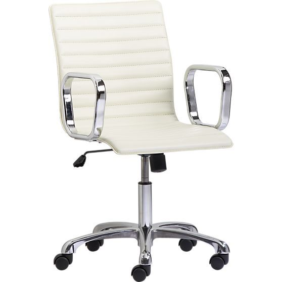 ripple chair // cRipple Ivory, White Leather Desks Chairs, Offices Ideas, Leather Offices, Ivory Leather, Crates And Barrels, Office Chairs, Offices Chairs, Leather Chairs