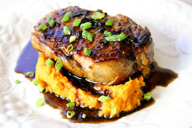 From Dahlias to Doxies: Juicy Pork Chops with Agrodolce Sauce: Juicy Pork, Doxi, Mashed Sweet Potatoes, Dahlias, Brine Pork, Chops Recipes, Super Juicy, Agrodolc Sauces, Pork Chops