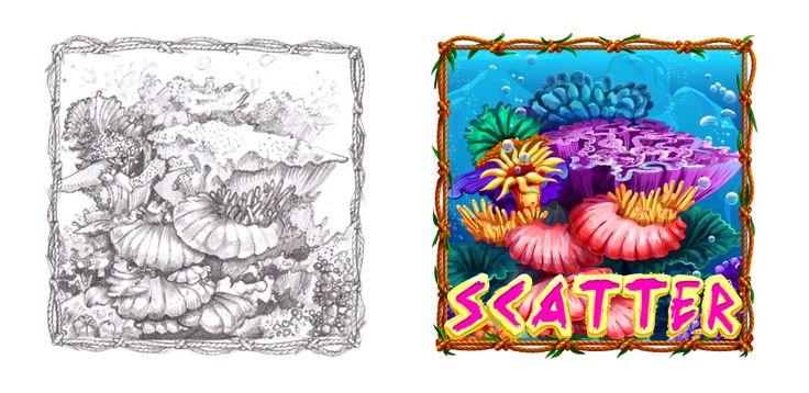 """Graphic design of symbol for the game slot machine """"Lucky shores"""" http://artforgame.com"""