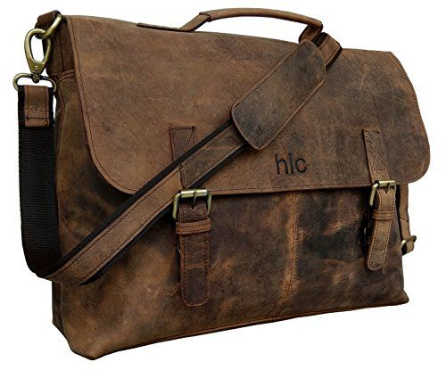 Leather Vintage Retro Buffalo Hunter Leather Laptop Messenger Bag Office  Briefcase College Bag 128a6919654d2