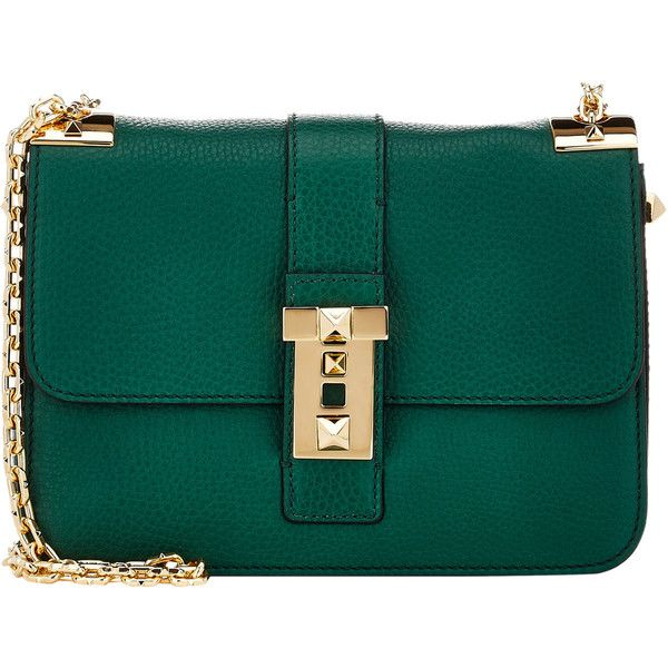 Valentino B-Rockstud Shoulder Bag found on Polyvore featuring bags, handbags, shoulder bags, bolsas, valentino, green, accessories handbags, studded handbags, shoulder strap handbags and shoulder handbags