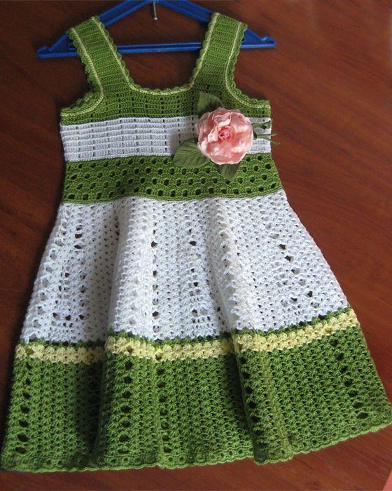 Vestido de crochê margaridas para meninas - Gráficos
