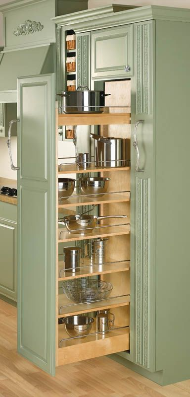 """Rev-A-Shelf 448-TP58-5-1 448 Series 5"""" Wide by 58"""" Tall Pull Out Pantry Cabinet Natural Wood Tall Cabinet Organizers Pull Out Pantry Organizers Pull"""