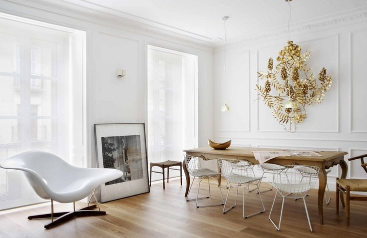 Interior:Contemporary White Apartment Decorations With Charming Interior Design Styles With Modern White Chairs Also Wooden Table Plus Wooden Chairs Also Painting With Exciting Chandeliers With Wooden Flooring And White Wall Interior Design Trends 2014 - Top 100 Collections Of White Interior Design Ideas Inspiring