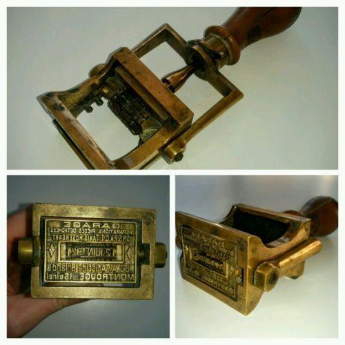 Ancien-tampon-dateur-encreur-en-bronze-garage-des-annees-1920-complet-fonctionne