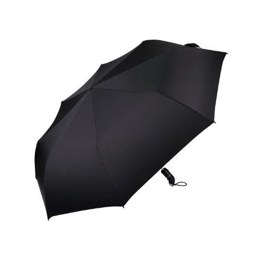 JUNRUI® 自動開閉折り畳み傘 頑丈な8本親骨 撥水 耐風 折りたたみ傘 ワンタッチ自動開閉 折りたたみ傘 鞄に常備 115cm ブラック
