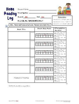 FREE Home Reading Log Form