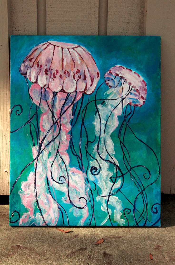 Jellyfish Acrylic Painting by KristaLize on Etsy, $45.00
