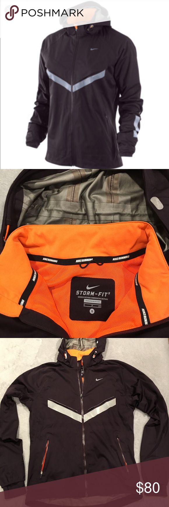 Nike Vapor Windrunner *reflective Nike vapor windrunner jacket, size small, GUC, it's a beautiful dark purple wig orange lining. The hood has built in rain visor, cinches on the back and is also removable. It has reflective strip on the front and back. Ha