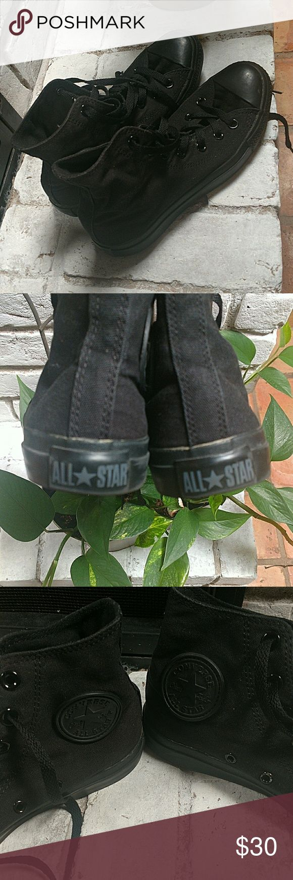Black high top Converse Chuck Taylor's All black, ( tips, bottom, laces) high top Converse Chuck Taylor's Converse Shoes