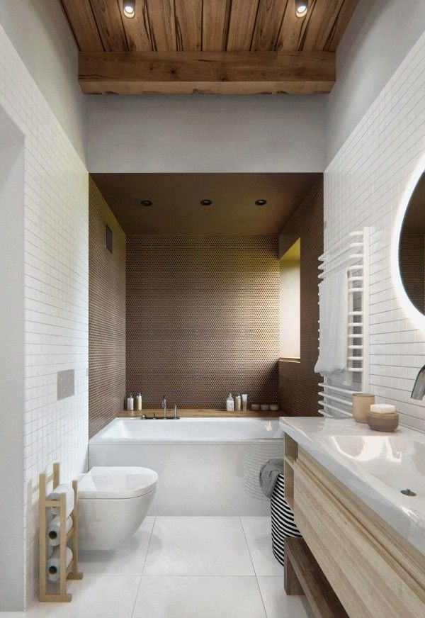 The bathroom also uses the ceiling as a gorgeous accent, leaving the wood unpainted for a lovely natural effect.