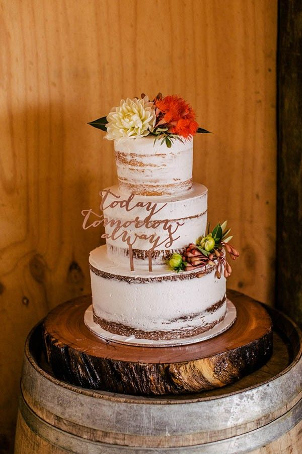White naked cake with calligraphy topper | Image by Hannah Blackmore Photography