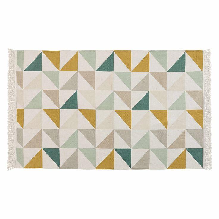Tappeto con motivi a triangolo in cotone 120 x 180 cm GASTON