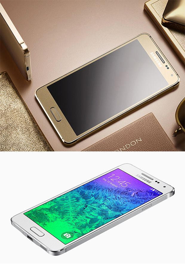 Samsung Galaxy Alpha.  With its metal-framed body and rounded edges, Samsung's new Galaxy Alpha. At just 7mm thick, it's one of the slimmest Galaxy devices yet. It's got a 4.7-inch HD super AMOLED display, and boasts a camera that captures images in real-time HDR, and an ultra-power saving mode.