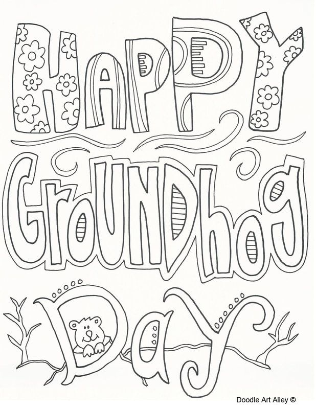 February Coloring Pages Doodle Art Alley In 2020 Groundhog Day Coloring Pages School Coloring Pages