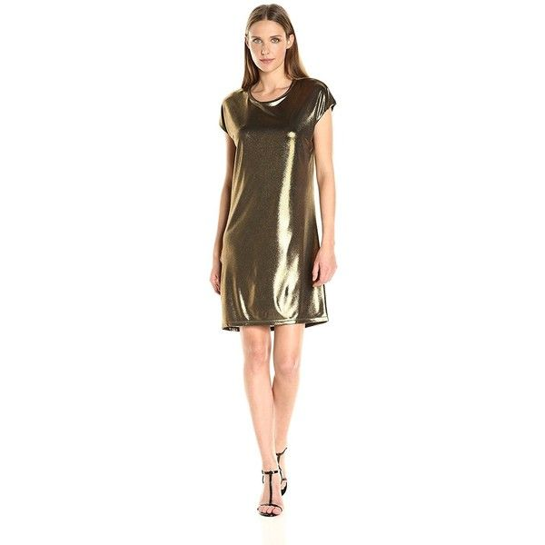 HALSTON HERITAGE Women's Short-Sleeve Foil Jersey Dress with Drape... ($245) ❤ liked on Polyvore featuring dresses, brown jersey, fitted dresses, jersey t shirt dress, fitted t shirt dress and tee dress
