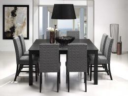 Phillippa spisestue 145x145/185 inkl. 1 tilleggsplate svart med 8 svart/grå Phillippa stoler.