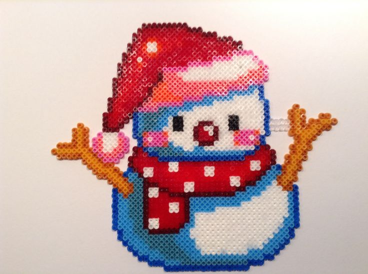 Snowman Christmas hama beads by Helle Petersen