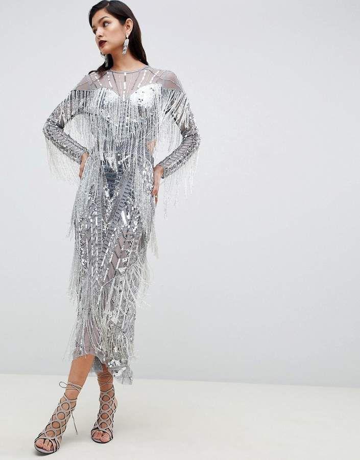 de138f7baace ASOS EDITION sequin & fringe cut out midi dress | Neighborhood It ...