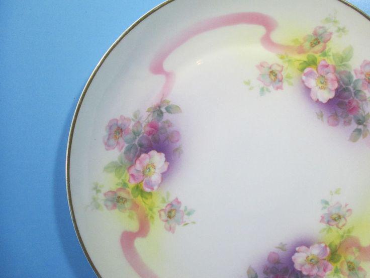 German Platter Rudolstadt Porcelain Plate Vanity Tray Vtg Hand Painted Gold Rim #Baroque #Rudolstadt