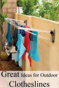 Great Ideas for Outdoor Clotheslines - Need to do this for towel at the pool!!!