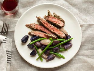 Delicious - Provencal Steak with with Purple Potatoes & Green Beans ...