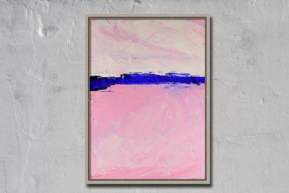 Abstrait rose, petit original, peinture à l'huile, toile 6×8, design minimaliste, horizon bleu, moderne, Co   – Products